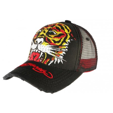 Casquette Ed Hardy Noire et Rouge Tiger Basic Trucker Fashion CASQUETTES ED HARDY