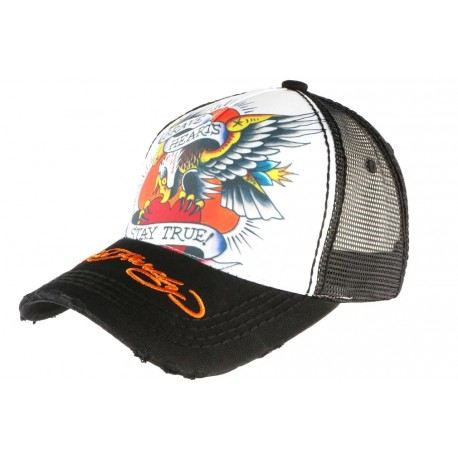 Casquette Ed Hardy Noire et Blanche Eagle Brave Hearts Trucker CASQUETTES ED HARDY
