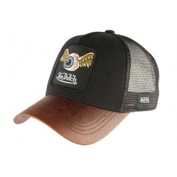 Casquette Von Dutch Noire Flying Eyeball visiere cuir Marron GRN