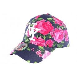Casquette Enfant bleue Fleurs Roses NY Bora de 7 à 12 ans Casquette Enfant Hip Hop Honour