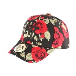 Casquette Enfant Noire Fleurs Rouges NY Bora de 7 à 12 ans Casquette Enfant Hip Hop Honour