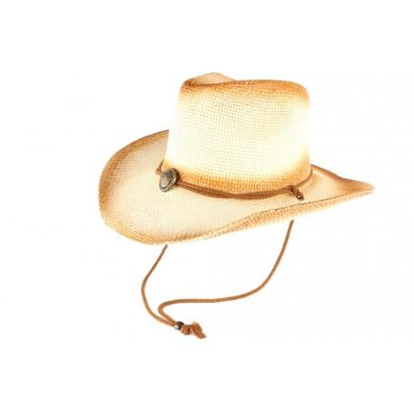 Chapeau Cowboy Country Paille Beige et Marron Khelton CHAPEAUX Léon montane