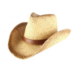Chapeau Cowboy Country Paille Marron Naturel Brook CHAPEAUX Léon montane