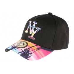 Casquette NY Bleue Rose Visiere Baseball Fashion Tropic Night