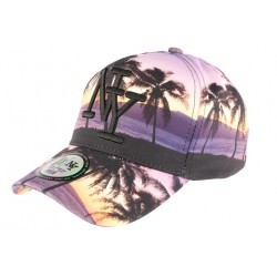 Casquette baseball violette et jaune NY Tropical Night