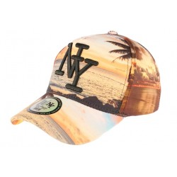 Casquette NY Orange et Bleue NY Fashion Tropical Night