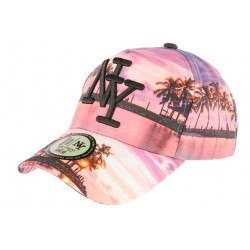 Casquette NY Rose et Violette Baseball Fashion Tropical Night