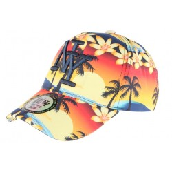 Casquette NY Orange et Bleue Baseball Fashion Tropic Flower
