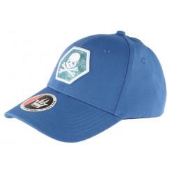 Casquette Baseball Bleue Tete de Mort Fashion Hexkyl CASQUETTES Hip Hop Honour