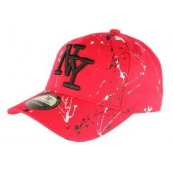 Casquette NY Rouge et Noire Look Tagué Streetwear Baseball Paynter CASQUETTES Hip Hop Honour