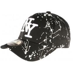 Casquette NY Noire et Blanche Look Tagué Streetwear Baseball Paynter CASQUETTES Hip Hop Honour