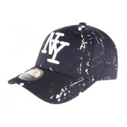 Casquette NY Bleue et Blanche Look Tagué Streetwear Baseball Paynter CASQUETTES Hip Hop Honour