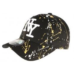 Casquette NY Jaune et Noire Look Tagué Streetwear Baseball Paynter CASQUETTES Hip Hop Honour