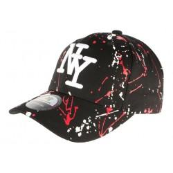 Casquette NY Noire et Rouge Style Tags Streetwear Baseball Paynter CASQUETTES Hip Hop Honour