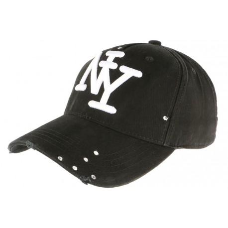 Casquette Baseball noire design createur classe et couture NY Pointy CASQUETTES Hip Hop Honour