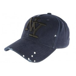 Casquette Baseball Bleue Design Createur Classe et Couture NY Pointy