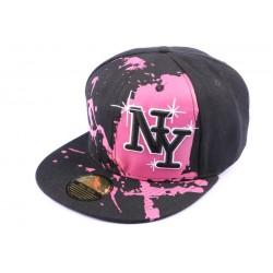 casquette snapback NY noire et rose Street Art