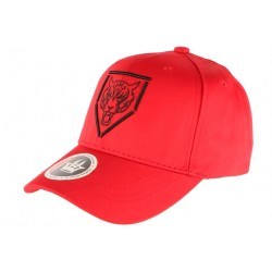 Casquette Baseball Rouge Tete de Tigre Streetwear en coton