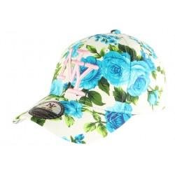 Casquette NY Bleue et Blanche a Fleurs Fashion Baseball Bora CASQUETTES Hip Hop Honour