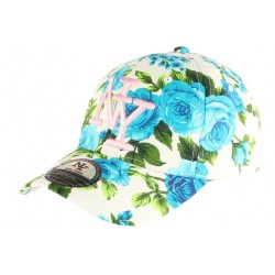 Casquette NY Bleue et Blanche a Fleurs Fashion Baseball Bora