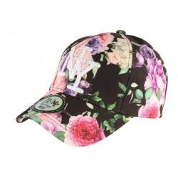 Casquette NY Noire et Rose Fleurs Fashion Baseball Bora