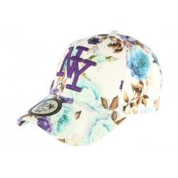 Casquette NY Bleue et Violette Florale Fashion Baseball Bora CASQUETTES Hip Hop Honour