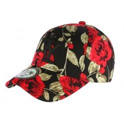 Casquette NY Noire et Rouge Florale Fashion Baseball Bora CASQUETTES Hip Hop Honour
