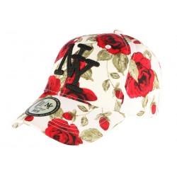 Casquette NY Rouge et Blanche Florale Fashion Baseball Bora