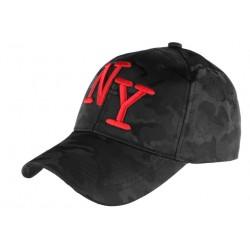 Casquette NY Militaire Noire et Rouge Graphisme Baseball Armee Koft CASQUETTES Hip Hop Honour