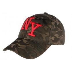 Casquette NY Militaire Marron et Rouge Graphisme Baseball Armee Koft CASQUETTES Hip Hop Honour