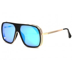 Grosses Lunettes soleil Miroir Bleu Grande Monture Doree Fashion Arty LUNETTES SOLEIL SOLEYL