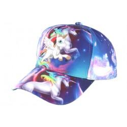 Casquette Enfant Licorne Blanche et Bleue Fashion Baseball Kelfy Casquette Enfant Hip Hop Honour