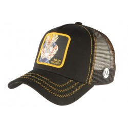 Casquette Dragon ball Z Vegeta Majin Super Saiyan Noire Trucker Capslab CASQUETTES COLLABS