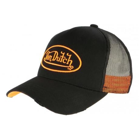Casquette Von Dutch Orange et Noire Trucker Baseball Neo CASQUETTES VON DUTCH