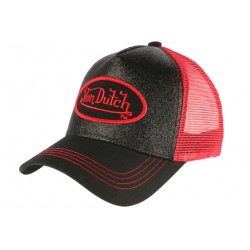 Casquette Von Dutch Rouge et Noire Flakes Baseball Trucker Fashion CASQUETTES VON DUTCH