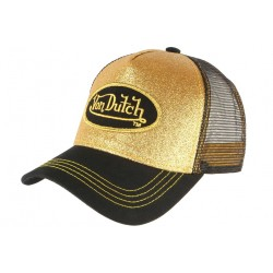 Casquette Von Dutch Doree Gold et Noire Flakes Baseball Fashion CASQUETTES VON DUTCH