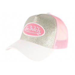 Casquette Von Dutch Grise Argent et Rose Flakes Baseball Trucker Fashion CASQUETTES VON DUTCH