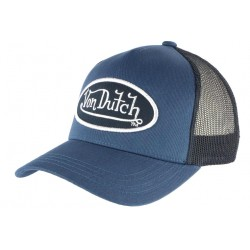 Casquette Von Dutch Bleue Filet Noir Colors Baseball Trucker CASQUETTES VON DUTCH