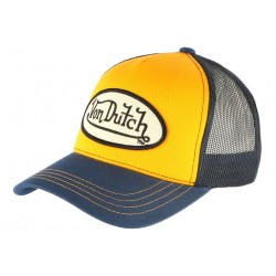 Casquette Von Dutch Orange Visiere bleue Colors Baseball Trucker Fashion CASQUETTES VON DUTCH