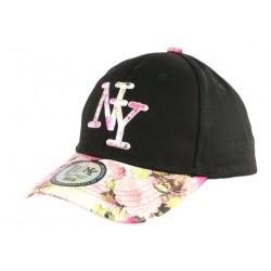 Casquette Enfant Rose et Noire Fleurs Gili Baseball NY de 7 à 12 ans Casquette Enfant Hip Hop Honour
