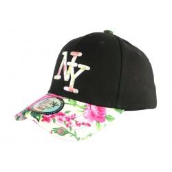 Casquette NY Enfant Rose et Noire Florale Gili Baseball NY de 7 à 12 ans Casquette Enfant Hip Hop Honour