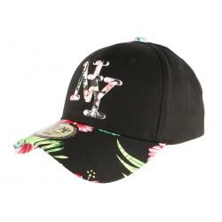Casquette NY Noire Fleurs Rouges Gili Baseball Fashion Tropic CASQUETTES Hip Hop Honour