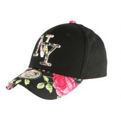Casquette NY Noire et Rose Fleurs Gili Baseball Fashion Tropic CASQUETTES Hip Hop Honour