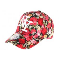 Casquette Baseball Noire et Rouge Fleurs Tendance Baseball NY Palma CASQUETTES Hip Hop Honour