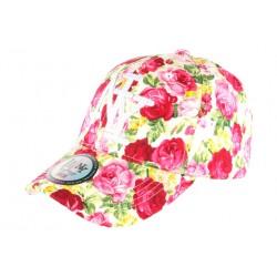 Casquette Baseball Blanche Fleurs Roses Tendance Baseball NY Palma CASQUETTES Hip Hop Honour