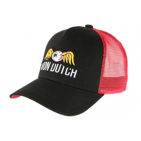 Casquette Von Dutch Rouge et Noire Eye Ball Baseball Trucker USA CASQUETTES VON DUTCH