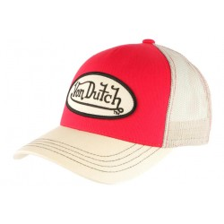 Casquette Von Dutch Rouge Visiere Beige Colors Baseball Trucker Tendance CASQUETTES VON DUTCH