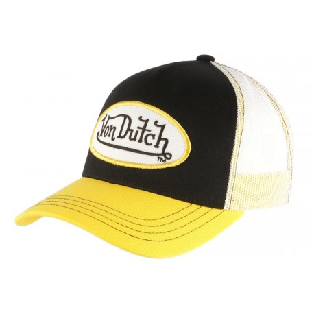 Casquette Von Dutch Noire Visiere Jaune Colors Trucker Baseball Fashion CASQUETTES VON DUTCH