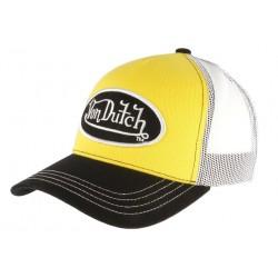 Casquette Von Dutch Jaune Visiere Noire Colors Trucker Baseball Tendance CASQUETTES VON DUTCH