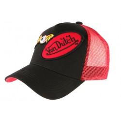 Casquette Von Dutch Rouge et Noire Baseball Trucker Double Griffe CASQUETTES VON DUTCH
